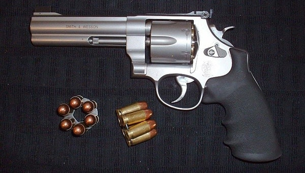 Modern Smith & Wesson 625 with moon clips.