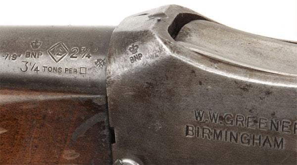 Greener shotgun marked for 2 3/4 shells.