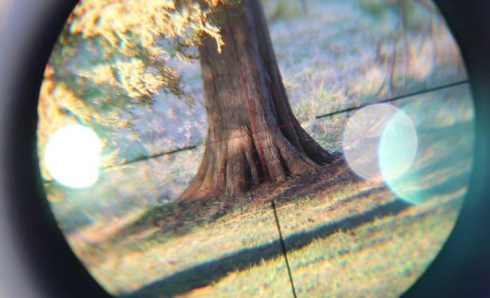 tree in crosshairs view of konuspro scope