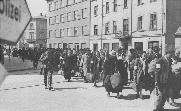 Marching Jews out of the Krakow ghetto.