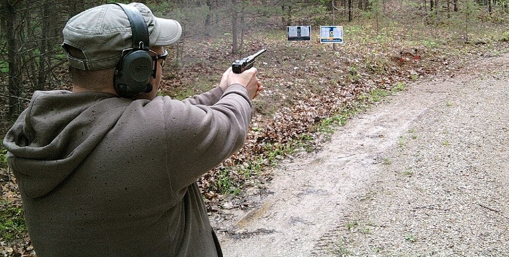 Putting rounds down range. (Photo credit: Jim Downey)