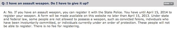 NY SAFE Act: Question on  'Assault' Weapons