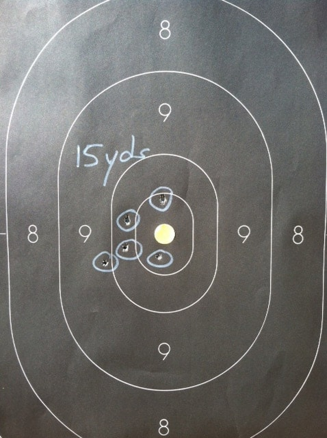 Occluded rapid test, 15 yards.