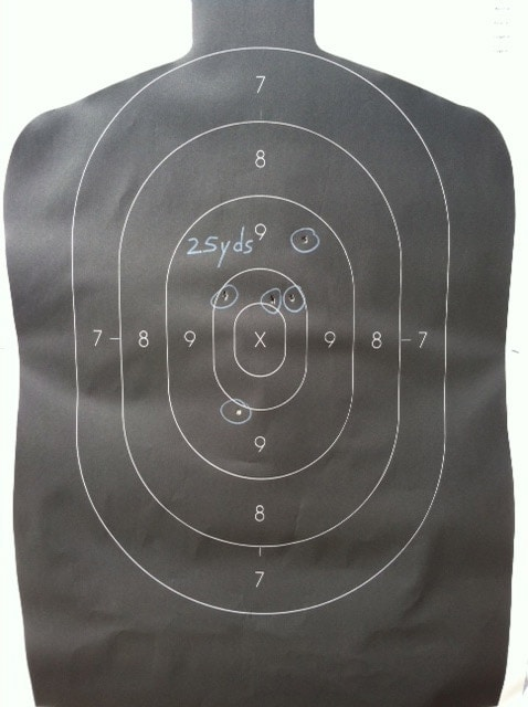 Occluded rapid fire test at 25 yards
