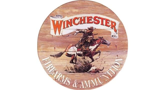 Tin_Sign_Winchester_Firearms_and_Ammunition_Cowboy_Riding_Horse_Vintage_Country_Decor_TSN0975