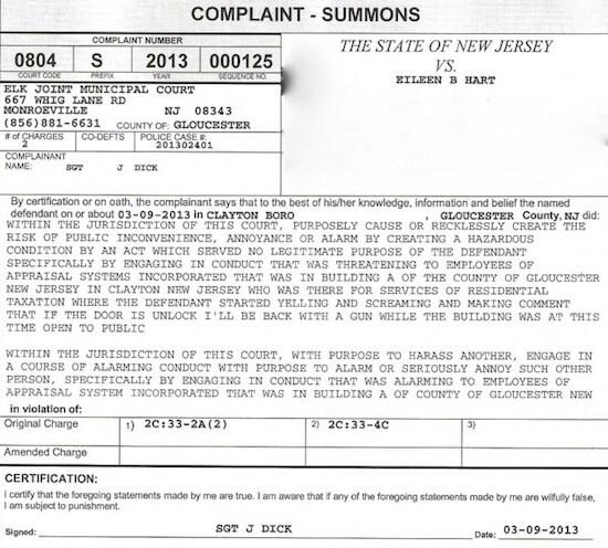 Complaint Summons (Image courtesy of Eileen Hart, via Harriet Baldwin via The Blaze.com)