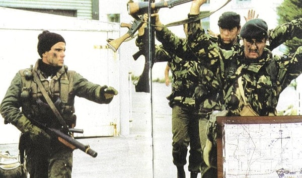 Argentine commando with Sterling SMG in Falkland Islands
