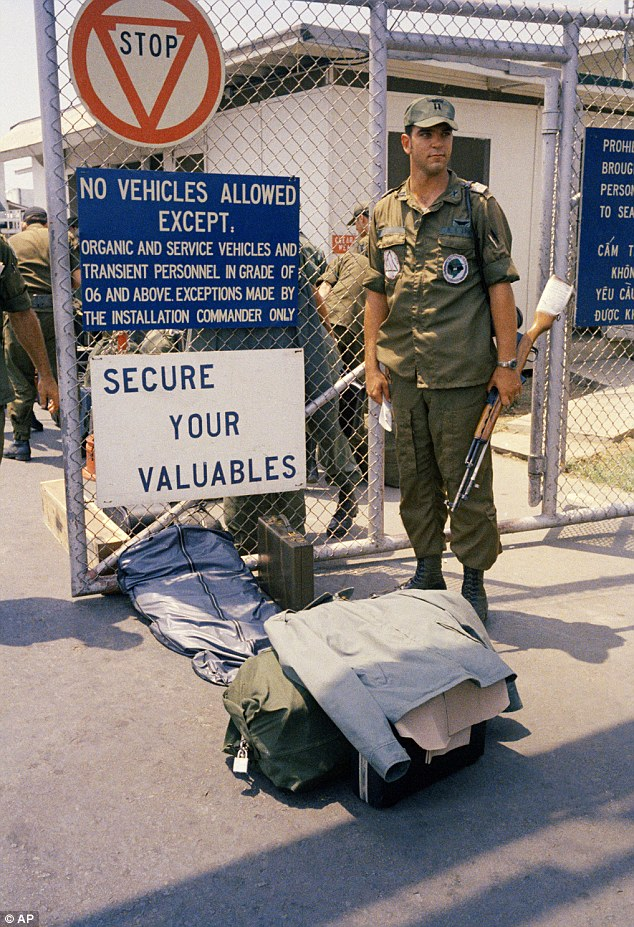 Chaos: Lines of bored soldiers snaked through customs and briefing rooms as they left Vietnam