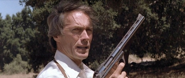 Clint Eastwood holds an Automag