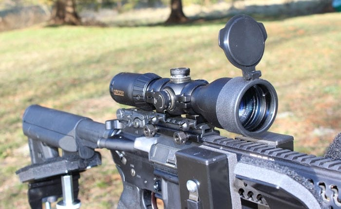 close up view of the konuspro scope on a rifle