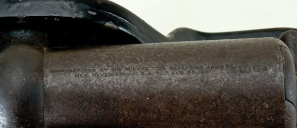 Markings on a 1901 10-gauge Winchester lever action shotgun