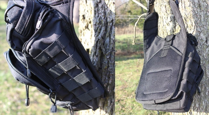 2 views of opmod bag hanging from a tree