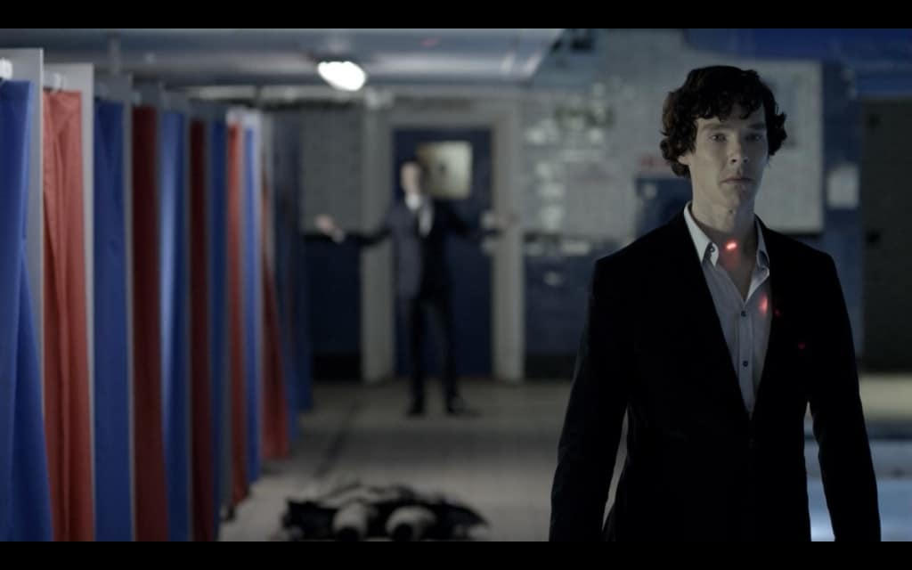 Holmes is targeted by Moriarty's goon in the BBC's Sherlock.