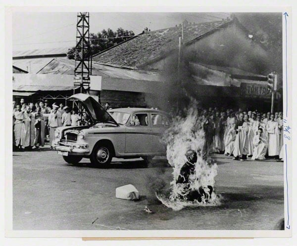 Buddhist monk Thich Quang Duc sets himself ablaze in protest against alleged religious persecution by the South Vietnamese government, Saigon June 11, 1963 Photographer: Malcolm W. Browne, American, born 1931