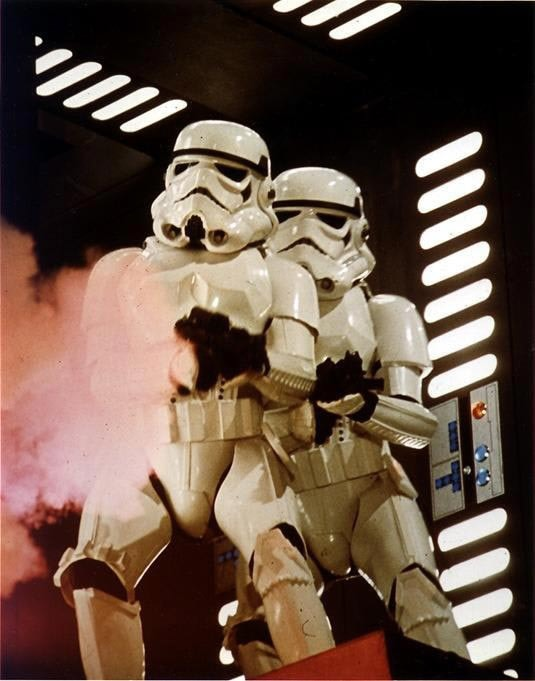 Stormtroopers sporting their Sterling inspired SMGs, a long time ago, in a galaxy far, far away.