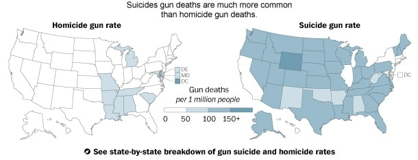 Suicide Rate vs. Homicide Rate (Credit: Washington Post)