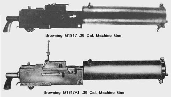 Browning M1917 .30 caliber heavy machine gun.