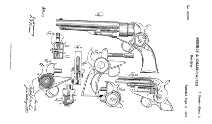 From US Patent #39,825 Mershon and Hollingsworth Self-Cocking Revolver