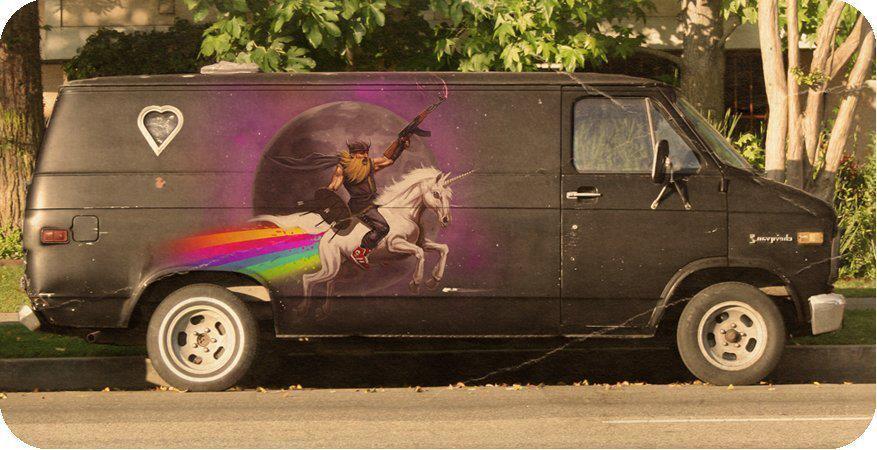 Dude riding unicorn