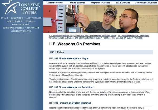 Screen capture of Lone Star Colleges weapons policy, prohibiting firearms.