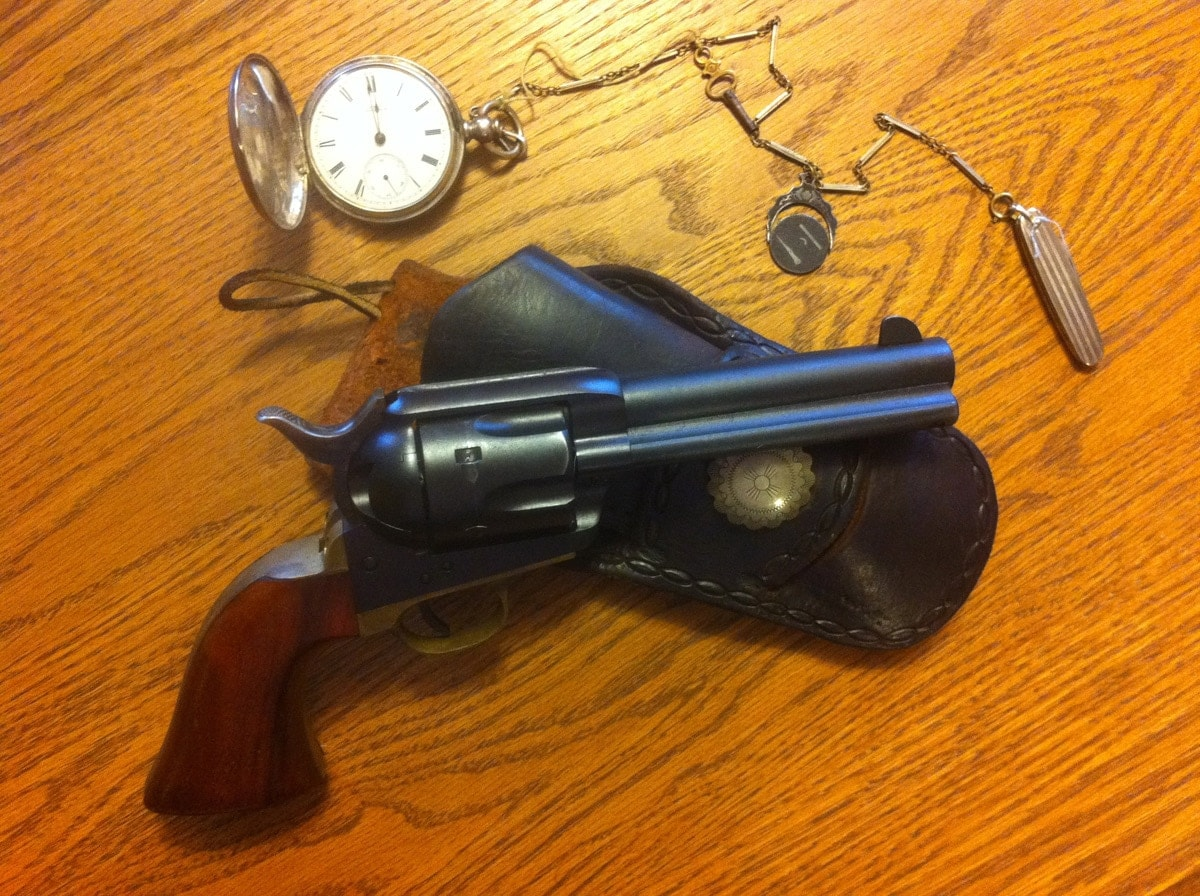 The Uberti Hombre on desk on top of holster