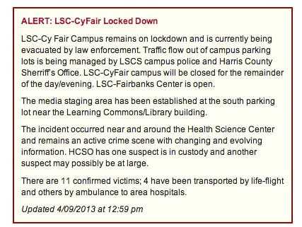 Message captured from Lone Star College website