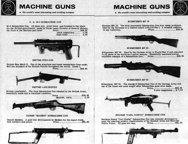 Advertisements for machine guns