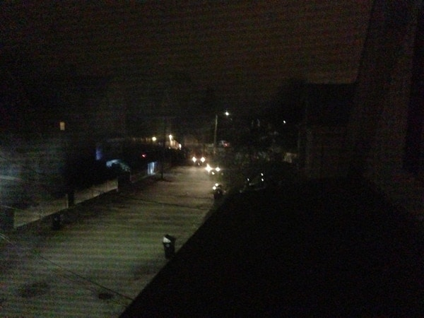This is a view from the west-facing window in my bedroom and at the end of the block (Laurel St.) you can see multiple police vehicles. These vehicles were about 75-80 yards from the shooters. (Taken at 12:46:25AM)