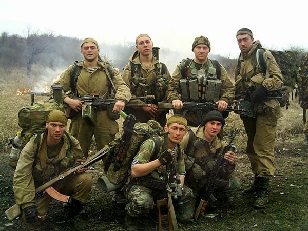 Squad of Russian soldiers with RPK