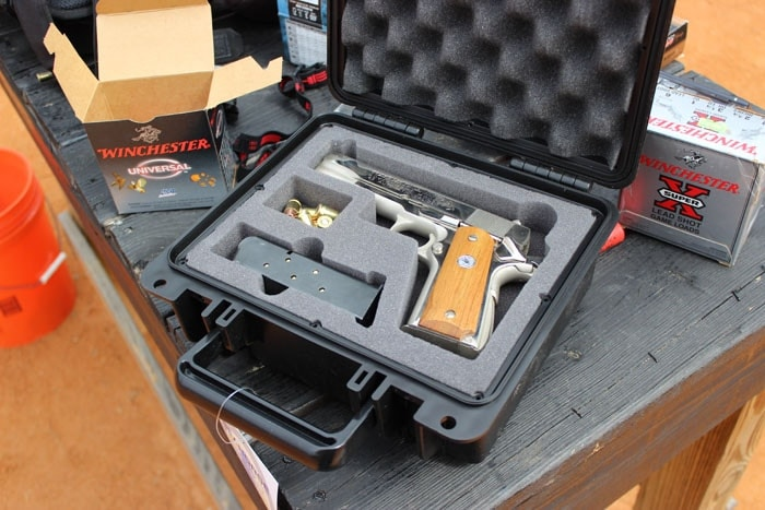 seahorse case with a gun in it
