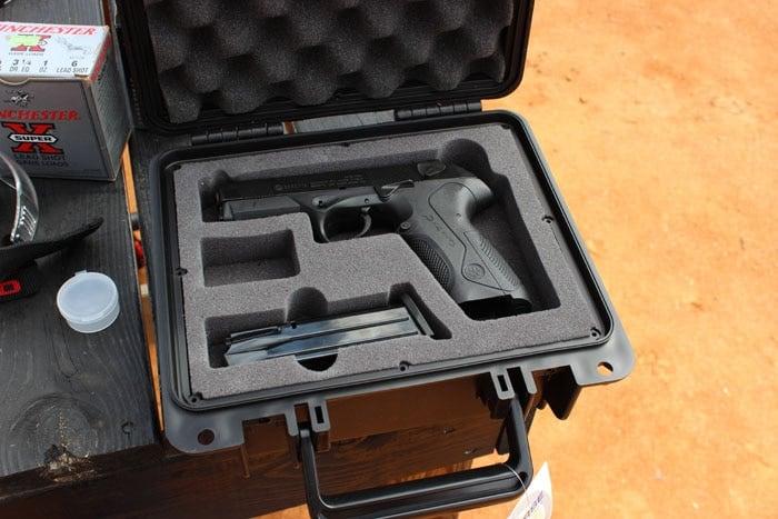 handgun and mag sitting in a seahorse case