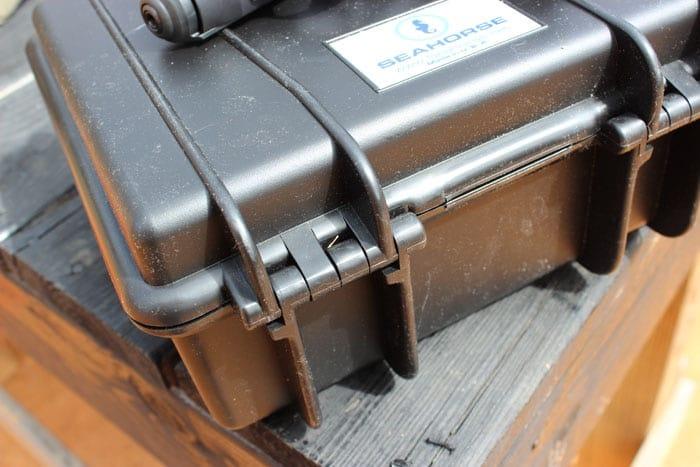 close up view of seahorse gun case