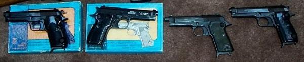 Left: Two Egyptian made guns. Right: Two Beretta made guns.
