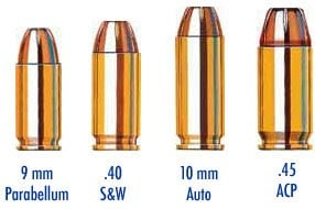 Comparison of pistol rounds including 10mm