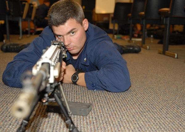 Aerial gunner training with M14 EBR USCG