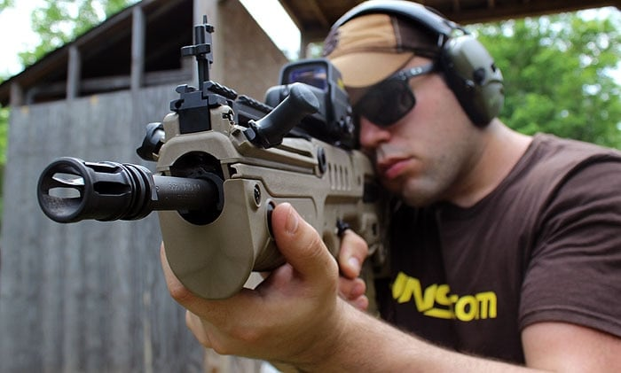 shooter getting ready to shoot iwi tavor