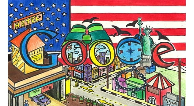 patriotic google doodle runner up