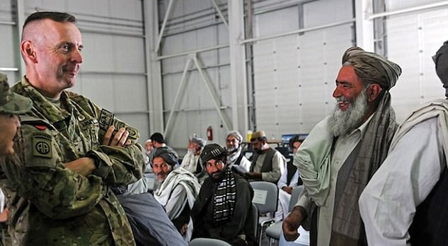 Brig. Gen. Sinclair speaks with Afghan leaders at Kandahar Airfield transfer of authority ceremony