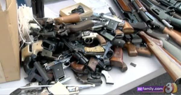 Guns collected from a buyback on Saturday. (Photo credit: AZ Family)
