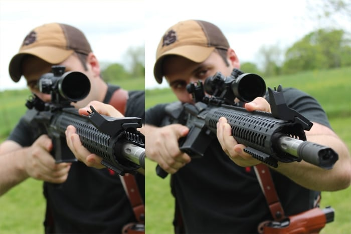 male shooting a scoped rifle outdoors