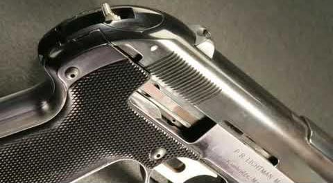 Semmerling pistol, showing off it's nearly hammerless design