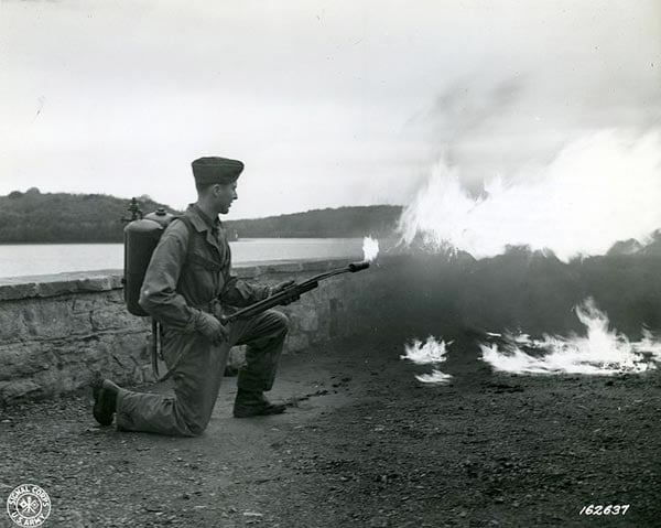 M1 Flame thrower demonstration