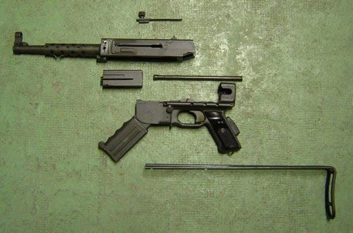 MAT 49 submachine gun broken down