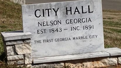 Nelson, Georgia, is known for its marble processing and baseball field.