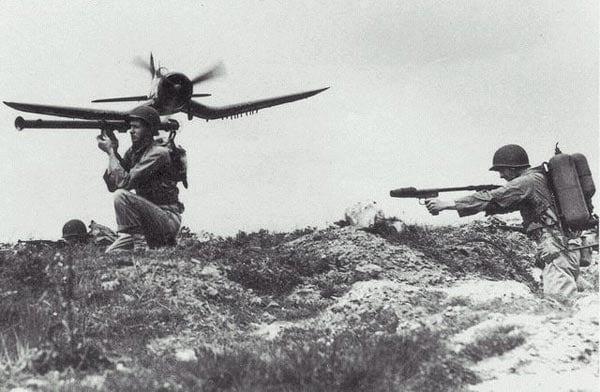 flamethrower aimed at bazooka