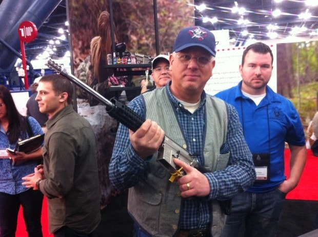 Glenn Beck with his new AR-15 from Black Rain Ordinance. (Photo credit: The Blaze)