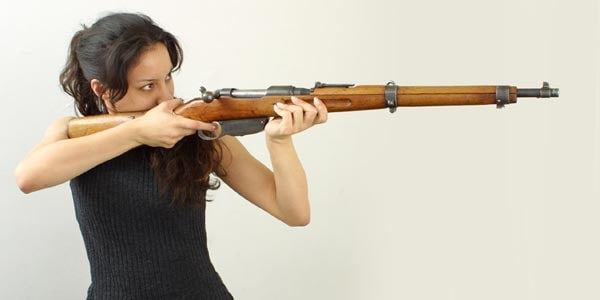 Steyr Mannlicher M95-34.  Note the small size, in relation to a female shooter.  Photo by Oleg Volk.