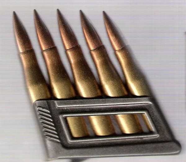 The M95's enbloc clip full of 8x56mm rounds
