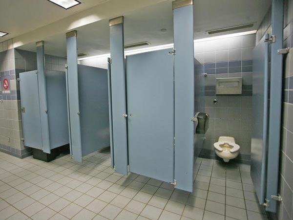 guns in the bathroom stall