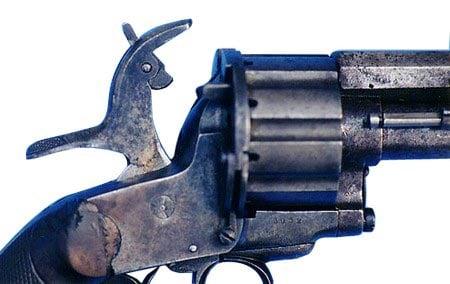 LeMat revolver hammer cocked.